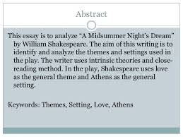 "themes and settings in a midsummer night s dream by william shakesp  u m m a n a b i e g h i s m a i l j a l l a themes and settings analysis in ""midsummer night s dream"" by william shakespeare 2 abstract this essay"