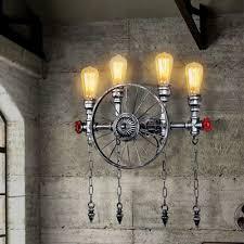 industrial loft lighting. Industrial Loft Wheel Wall Sconce In Silver Finish 4 Lights Lighting N