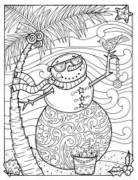 Funschool offers free online winter coloring pages for preschool kids. Tropical Snowman Coloring Page Adult Coloring Beach Holidays Etsy