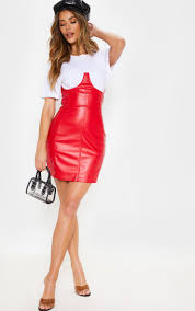 red faux leather high waisted bustier mini skirt image 1