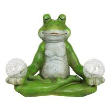 exhart solar yoga frog statue 15696 rs