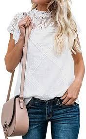 Amazon.com: ZXZY <b>Women</b> Cute Lace <b>Blouse</b> Top Short Sleeve ...