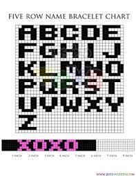 Rainbow Loom Charts Printable 42 Problem Solving Five Row Name Bracelet Chart
