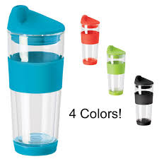 double wall borosilicate glass travel mug with silicone top grip