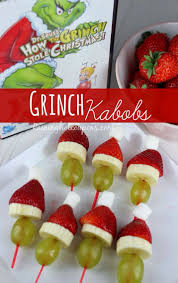 Grinch Kabobs Recipe ~ for a Christmas Party Idea ~ Chew ups Treats, until  all Gone ! ~ *Grinch that stole Christmas.