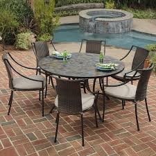 outdoor furniture round patio dining sets for 6 chairs metal set