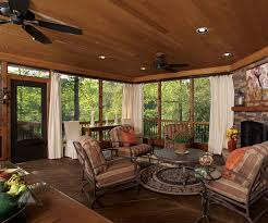 Charming Wooden Ceiling Lighting Over Comfy Porch Furnishing Decks As Well  As White Fabric Curtain Added Screen Porch Ideas Interior Country House  Designs