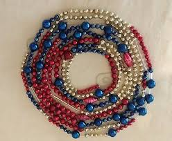 vintage mercury glass bead garland red silver and blue 1