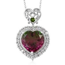 watermelon quartz multi gemstone platinum over sterling silver heart pendant with chain 20 in tgw 12 65 cts lc