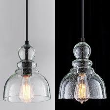 details about industrial mini pendant lighting with handblown clear seeded glass shade