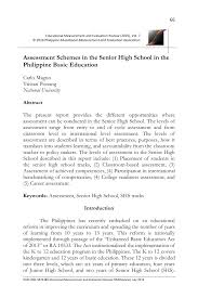 PDF) Assessment Schemes in the Senior High School in the Philippine ...