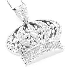 mens 14k gold crown diamond pendant 1 37ct white image