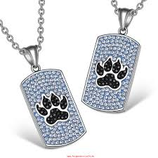 wolf paw austrian crystal love or best friends dog tag sky blue jet black charm necklaces eng08wsv
