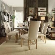 inspire q aberdeen industrial zinc top weathered oak trestle 7 piece dining set dinning room
