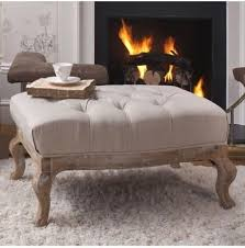 Tiffany Linen Buttoned Footstool French Furniture Bedroom Shabby Chic Furniture Furniture