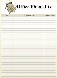 List Template Free Phone List Template Word Templates