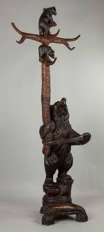 Bear Coat Rack Carved Black Forest Coat Rack and Umbrella Stand with Bear and Cubs 15