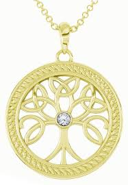 tree of life gold diamond 1cts celtic pendant necklace