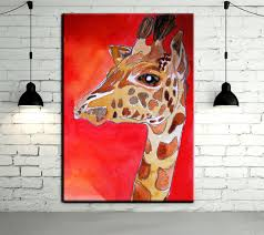 modern abstract animal art hang pictures handpainted lovely baby giraffe oil paintings on canvas wall pictures