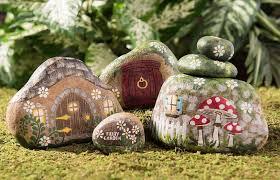 river rock fairy garden houses