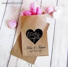 personalised paper bags for wedding gifts and favours will with confetti for wedding guests and wedding table decoration pack of 10