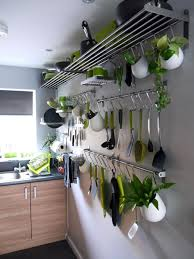 Small Kitchen Spaces Stainless Steel Hanging Kitchen Pots And Pans Rack Storage For