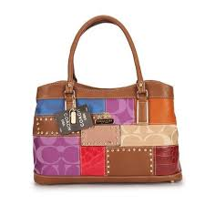 Coach Holiday Fashion Stud Medium Brown Multi Satchels EBK Outlet Clearance  Sale