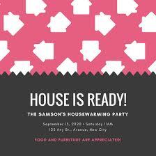 Pink Black Houses Pattern Funny Housewarming Invitation