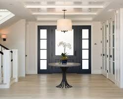 white interior front door. Crisp Foyer Design With Navy Blue Front Door Frosted Glass, Beadboard Ceiling And White Interior T