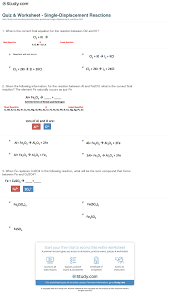 print single displacement reaction definition examples worksheet