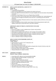 Regulatory Assistant Resume Samples Velvet Jobs