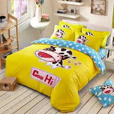 lemon yellow black white and aqua hipster style farm animal dairy cow print with kids monogrammed twin full size kids cotton bedding sets
