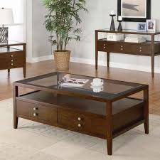 dark brown wood coffee table with glass top table set traditional wood and glass coffee table set for a modern living room remodeling design idea with beige