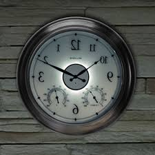 24 inch illuminated outdoor clock with temperature and humidity