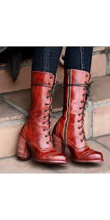 ariana victorian inspired mid calf leather boots in red rustic by oak tree farms