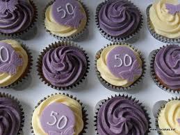 Jos Cakes Purple And Ivory 50th Birthday Cupcakes