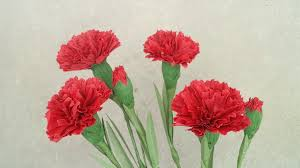 Paper Carnation Flower How To Make Red Carnation Paper Flower From Crepe Paper Craft