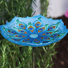 stained glass style bird bath designs blue peacock bird bath on stake