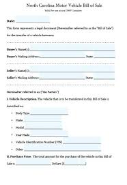 Bill Of Sale For Car Nc Bill Of Sale Template Nc