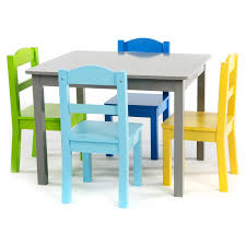 Elements 5-Piece Wood Kids Table \u0026 Chairs Set in Grey/Multi Shop