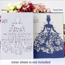 <b>10pcs</b>/<b>set</b> Pearly Paper Bride Pattern Wedding Invitation Card ...