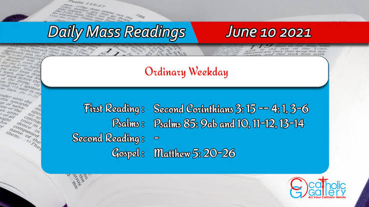 Catholic 10 June 2021 Daily Mass Reading for Thursday