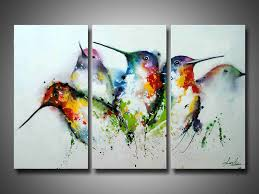 com artland modern 100 hand painted framed wall art colorful birds 3 piece animal oil painting on canvas for living room artwork for wall decor