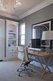 wall colors for home office. Grey Wall Color With White Crown Molding For Small Professional Home Office Design Layout Elegant Leather Swivel Chair And Cute Solid Wooden Desk Colors