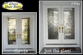 glass front entry doors wrought iron
