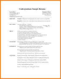 Undergraduate Student Resume Sample 5 Undergraduate Student Cv Template  Resume Examples For Graduate
