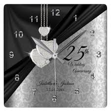 25th silver wedding anniversary keepsake square wall clock black gifts unique cool diy customize personalize black wedding anniversary