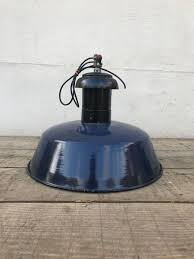 industrial blue grey pendant lamps 1930s set of 6