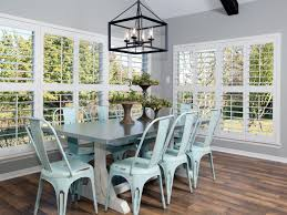 exquisite image of dining room decoration using light blue metal distressed wood dining chairs including rectangular white wood zinc top dining table and