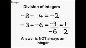 Integers Examples Math Integers Commutative And Closure Property Of Division